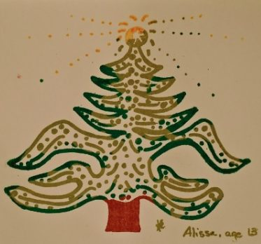 Drawing of Christmas tree (by Alissa, age 13)
