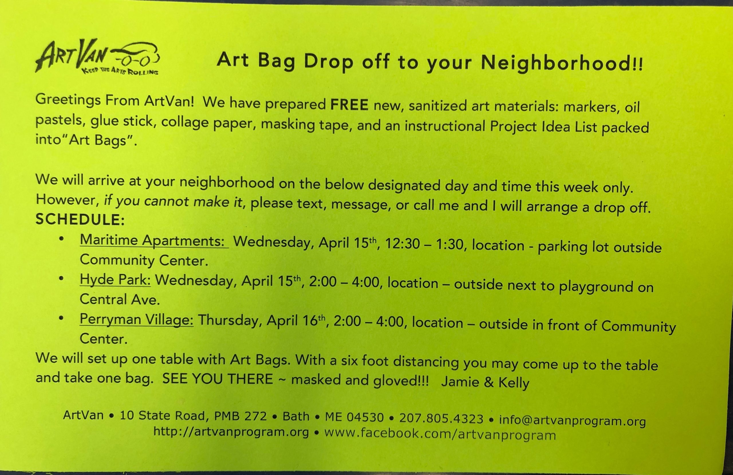 Art Bag Dropoff Info: We've prepared new Art Bags, which include brand new materials: markers, oil pastels, glue stick, collage paper, masking tape, and a Project Idea List.  All scheduled dropoffs have already occurred, but if you'd still like one please contact us and we can still drop them off!