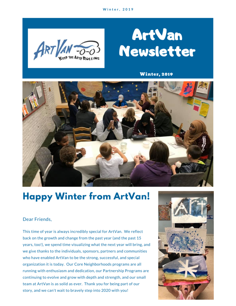 Winter newsletter, page 1 (full text available in PDF file)