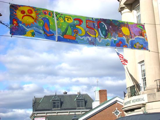 ArtVan 350 banner hanging over Main Street in Bath
